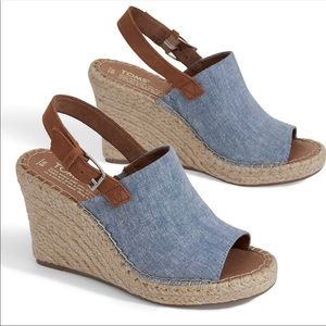 NWOB TOMS Monica Espadrille Wedge Denim Sandal